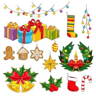 Kolekcja wesołych świąt i szczęśliwego nowego roku