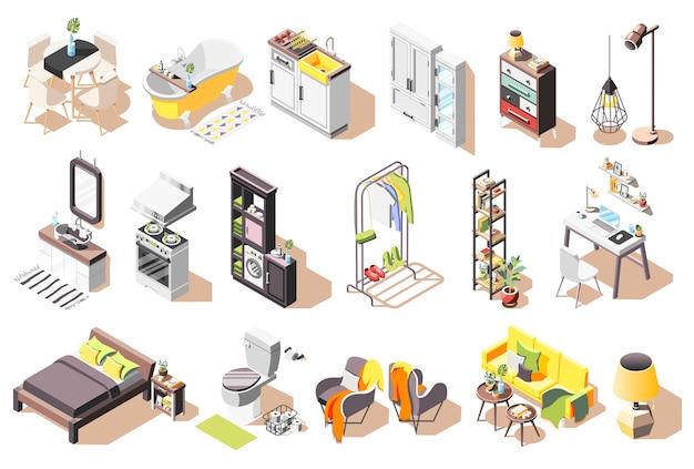 Kolekcja wewnętrznych ikon loft izolowanych obrazów z nowoczesnymi meblami do salonu i łazienki