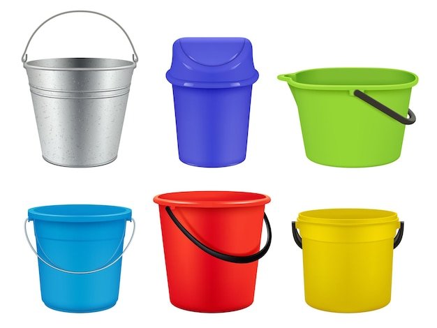 Kolekcja wiader. puste plastikowe lub metalowe pojemniki na płyny woda lub śmieci wektor realistyczne wiadra. ilustracja pojemnik pusty, wiadro do prac domowych