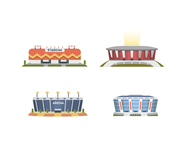 Kolekcja widoku z przodu stadionu sportowego w kreskówce. zestaw ilustracji zewnętrznej areny miejskiej.