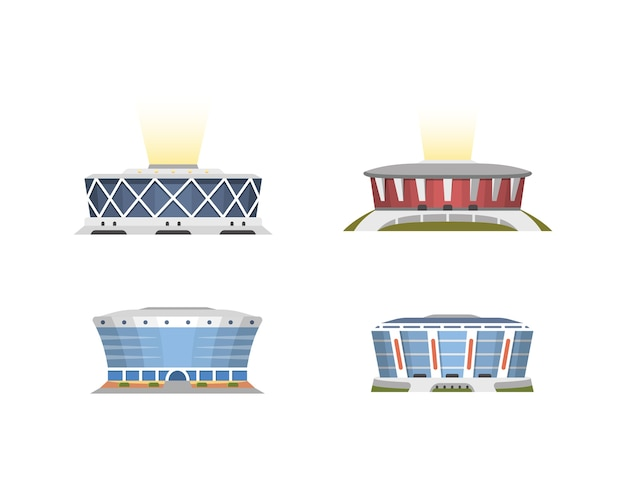 Kolekcja widoku z przodu stadionu sportowego w stylu cartoon