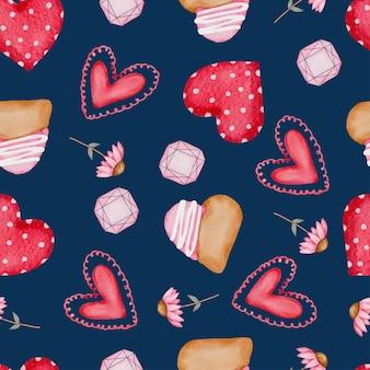 Kolekcja wielokolorowe serce, ciasto i inne elementy ilustracji.