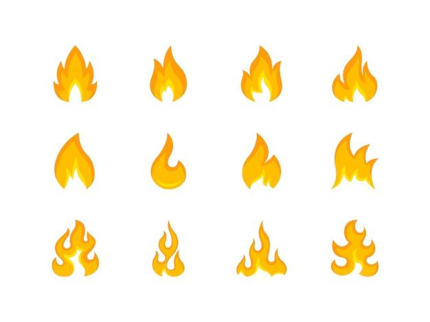 Kolekcja wielokolorowych kształtów ognia