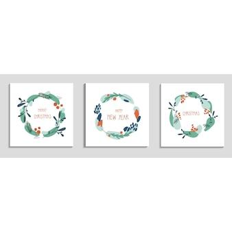 Kolekcja wieniec boże narodzenie i nowy rok z ręcznie rysowane tekst wesołych świąt szczęśliwego nowego roku
