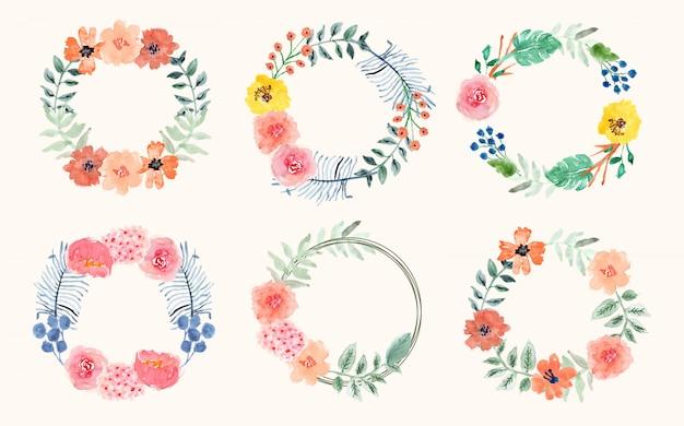 Kolekcja wieniec kwiatów akwarela