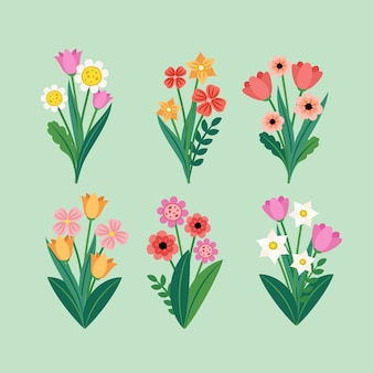 Kolekcja wiosennych kwiatów w płaskiej konstrukcji