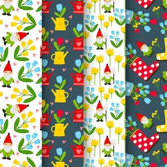 Kolekcja wiosennych wzorów z kwiatami i krasnalami ogrodowymi