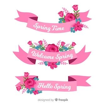 Kolekcja wiosna kwiatów wstążki