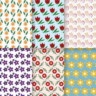 Kolekcja wiosna wzór w płaskiej konstrukcji