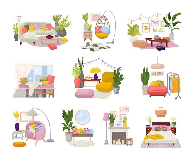 Kolekcja wnętrz hygge ze stylowymi wygodnymi meblami i zestawem skandynawskich dekoracji do domu. przytulne pokoje dzienne lub apartamenty urządzone w modnym stylu hygge. nowoczesne meble.