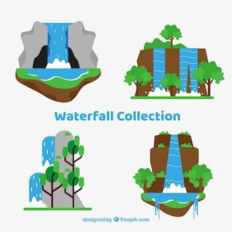 Kolekcja wodospady w stylu cartoon