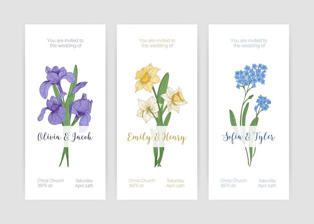 Kolekcja wspaniałych szablonów zaproszeń na ślub w pionie z kwitnącymi kwiatami wiosną w ogrodzie i miejscem na tekst na białym tle. ręcznie rysowane realistyczne kolorowe ilustracje botaniczne.