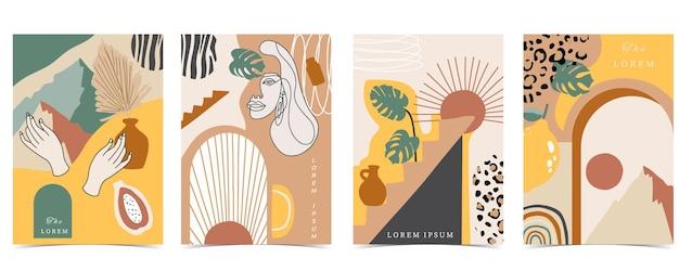 Kolekcja współczesnego tła z kobietą, kształtem, tęczą. ilustracja wektorowa do edycji na stronie internetowej, zaproszenia, pocztówki i plakatu