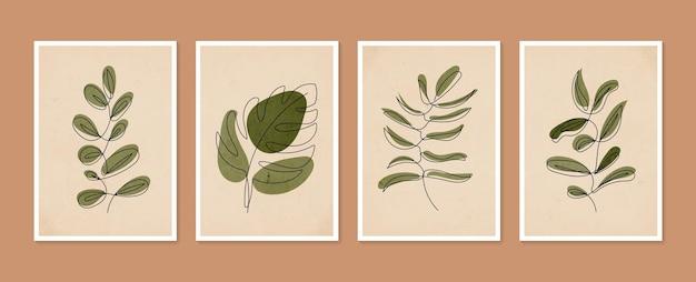Kolekcja współczesnych plakatów artystycznych z jednej linii. zestaw botanicznej grafiki ściennej. minimalistyczna i naturalna grafika ścienna.