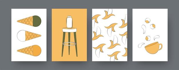 Kolekcja współczesnych plakatów z bananami i lodami. kawa lub herbata, pączki, ilustracje kreskówka lody. street food, koncepcja cateringu dla projektów, media społecznościowe,
