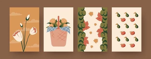 Kolekcja współczesnych plakatów z koszem kwiatów. ilustracje kreskówka tulipany, winogrona, gruszki i jabłka. piknik, letnia koncepcja projektów, social media,