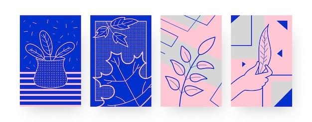 Kolekcja współczesnych plakatów z suchymi liśćmi. ręka trzyma liść, liście w wazonie ilustracje w kreatywnym stylu. jesienna koncepcja projektów, mediów społecznościowych,