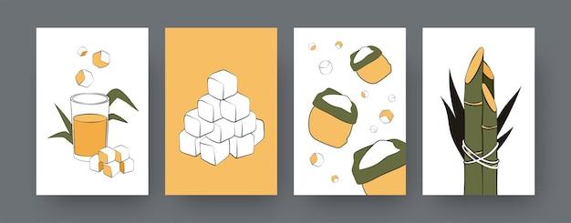 Kolekcja współczesnych plakatów z workami trzciny cukrowej. kostki trzciny cukrowej, sok, ilustracje do kreskówek rośliny. rolnictwo, koncepcja natury dla projektów, media społecznościowe, pocztówka