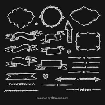 Kolekcja wstążki, ramki i strzałki w stylu tablica