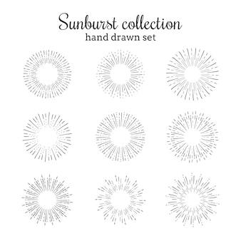 Kolekcja wyciągnięta ręcznie sunburst