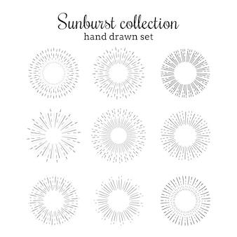 Kolekcja wyciągów ręcznych sunburst