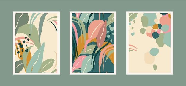Kolekcja wydruków artystycznych z abstrakcyjnymi liśćmi. nowoczesny design dla plakatów, okładek, kart, dekoracji wnętrz i innych użytkowników. proporcja a4.
