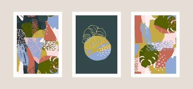 Kolekcja wydruków artystycznych z abstrakcyjnymi tropikalnymi liśćmi.
