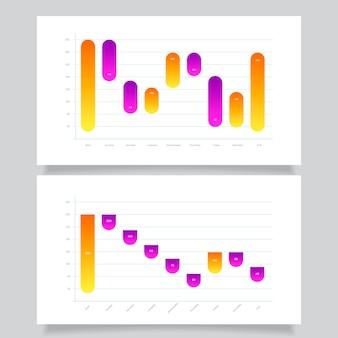 Kolekcja wykresu gradientu wodospadu