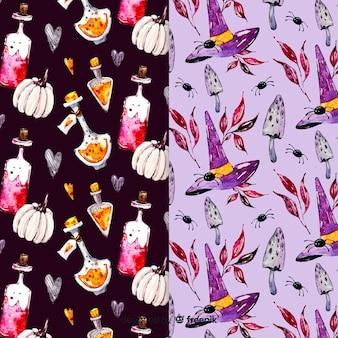 Kolekcja wzór akwarela halloween