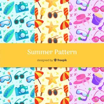 Kolekcja wzór akwarela lato