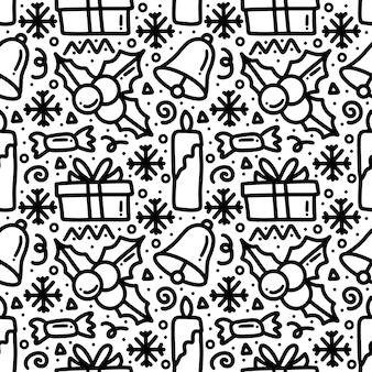 Kolekcja wzór bożego narodzenia z ikonami i elementami projektu