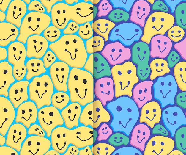 Kolekcja wzór emotikonów zniekształcony uśmiech