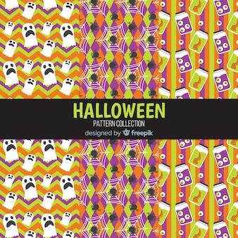Kolekcja wzór halloween w płaska konstrukcja