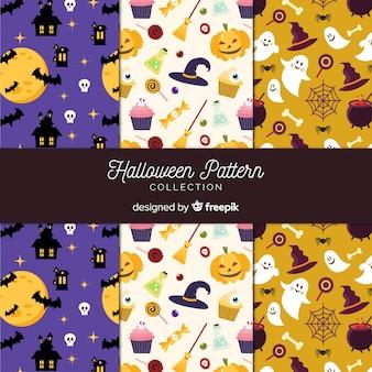 Kolekcja wzór halloween z płaska konstrukcja