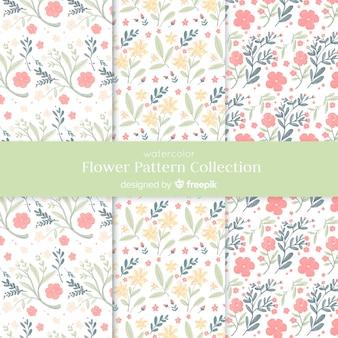 Kolekcja wzór kwiat akwarela