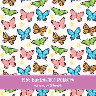 Kolekcja wzór motyle płaskie