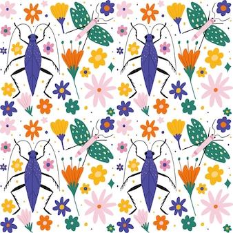 Kolekcja wzór owadów i kwiatów