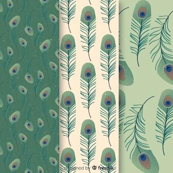 Kolekcja wzór pióro pawia z płaska konstrukcja