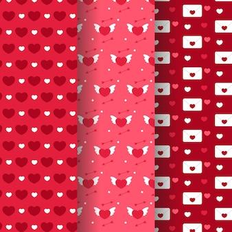 Kolekcja wzór walentynki w płaskiej konstrukcji