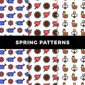 Kolekcja wzór wiosenny z kwiatami i kurczakami