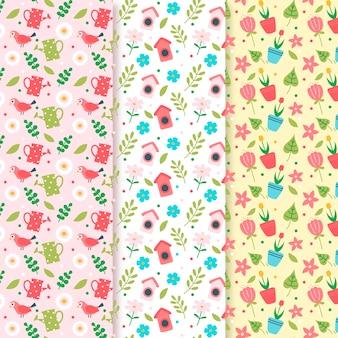 Kolekcja wzór wiosenny z roślinami i kwiatami