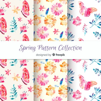 Kolekcja wzór wiosna akwarela