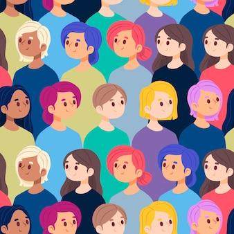 Kolekcja wzór zatłoczonych twarzy kobiet