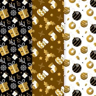 Kolekcja wzór złoty boże narodzenie