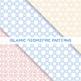 Kolekcja wzorców geometrycznych bez szwu w stylu islamskim
