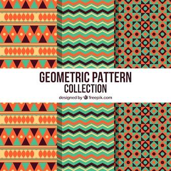 Kolekcja wzorców geometrycznych z stylem etnicznym