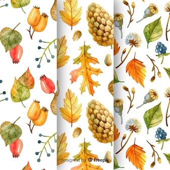 Kolekcja wzorów akwarela jesień