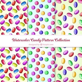 Kolekcja wzorów cukierków w stylu przypominającym akwarele