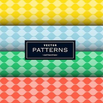 Kolekcja wzorów falistych linii w czterech kolorach
