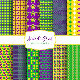 Kolekcja wzorów karnawałowych mardi gras. zieleń i tło, żółty i moda dekoracyjna. illusration wektor